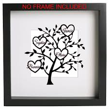 family tree with names and hearts 2 to 10 hearts box frame vinyl