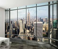 panoramic new york wallpaper wall mural white nightstand grey 1 wall new york skyline window view wallpaper photo wall mural giant photo
