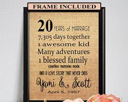 20 year wedding anniversary 20 year anniversary etsy