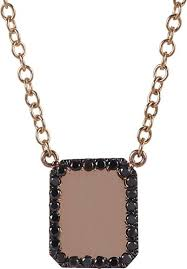 black glass necklace images Finn black diamond rose gold looking glass scapular necklace