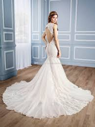 Chapel Train Wedding Dresses 2017 Mermaid Wedding Dresses With Open Keyhole Back Lace Wedding