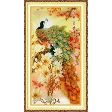silk peacock home decor 86x165cm chinese needlework diy cross stitch embroidery kit gold
