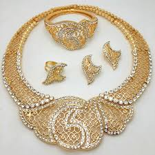 set of gold fashion exquisite dubai jewelry set luxury gold color big