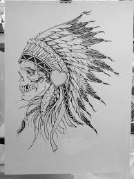 indian headdress skull drawing clipartxtras