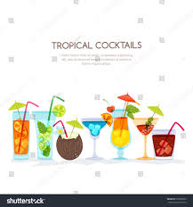 tropical cocktails set vector hand drawn stock vector 597089663