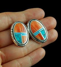 turquoise stud earrings spiny oyster shell and turquoise inlay stud earrings