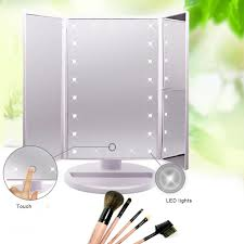 Make Up Mirrors With Lighted Tri Fold Mirror With Lights Vanity Decoration