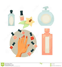spa salon equipment set for painting nails vector poster stock