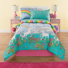 pink and blue girls bedding amazon com 6 piece girls unicorn rainbow comforter set twin
