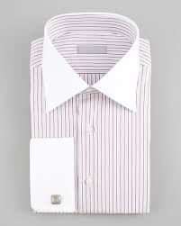 stefano ricci french cuff striped dress shirt in red for men lyst