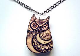 owl jewelry necklace images Owl necklace owl pendant carved wood owl woodburning owl jpg