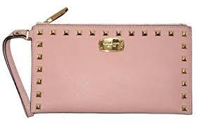 light pink michael kors wristlet michael kors saffiano studded leather zip clutch and wristlet pale