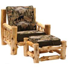 cedar log frame lounge chair and ottoman