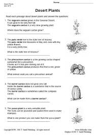 desert plants reading comprehension worksheet