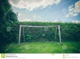 backyard soccer goal on a green lawn stock photo image 75482279