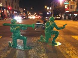 search halloween city guy and his girlfriend dress as plastic army men for halloween