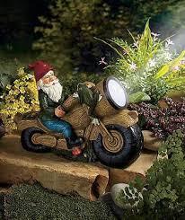 chic solar garden ornaments outdoor decor motorcycle gnome garden
