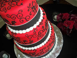 Red And Black Wedding Three Tier Red And Black Wedding Cake Has White Piping