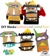 krokotak masks from corrugated cardboard and colored paper
