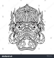 halo warthog drawing ornament face warthog line art style stock vector 668286610