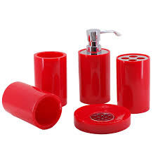 Red And Black Bathroom Accessories by Modern Bathroom Accessories Red Bathroom Set Of Five Pieces