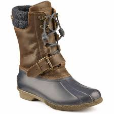 womens boots navy sperry s saltwater duck boot in navy brown country