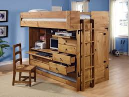 solid wood full size loft bed with desk and compact storage unit
