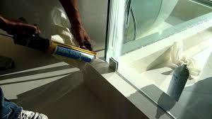 glass sealer for shower doors calking or silicone fully wet glazed frameless shower youtube