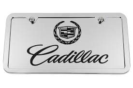 logo cadillac crest chrome license plate tag and stainless steel frame