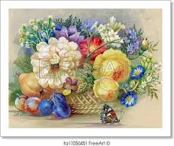 flowers and fruit free print of flowers and fruit flowers and fruit watercolor