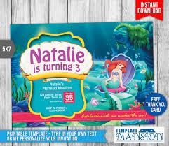 mermaid birthday invitation printable templatemansion