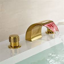 gold finish brass led bathroom sink faucet