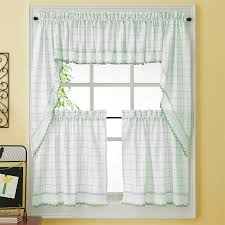 Green Kitchen Curtains Green Adirondack Woven Kitchen Tier Curtains Bedbathhome