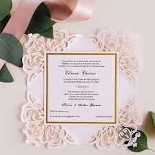 wedding invitations blush pink laser cut gold foil sted wedding