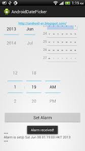 how to set alarm on android android er set alarm on specified date time with datepicker