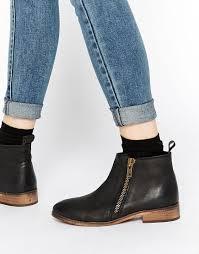 womens flat black boots size 12 imagen 1 de botines de cuero con cremallera en negro spitfire de