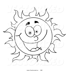 vector of a coloring page outline design of a happy sun by hit