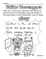 bus safety worksheets lessons and printables