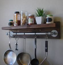 Kitchen Wall Shelving by Industrial Rustic Kitchen Wall Shelf Spice Rack With 24