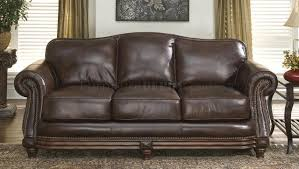 Dark Brown Leather Chairs Brown Leather Traditional Living Room W Nail Head Trim