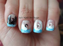 nail art design blue french manicure 4 ways how to draw a swan on