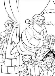 kids sneaking santa coloring page christmas coloring pages of