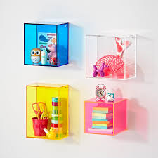 colored customized acrylic plastic cube wall shelf wall mounted