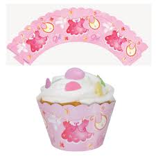 pink clothesline cupcake wrappers clearance uk baby shower co ltd