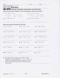 solving quadratic equations by factoring worksheets worksheets