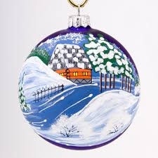 landscape blue background christmas ball ornament product sku s