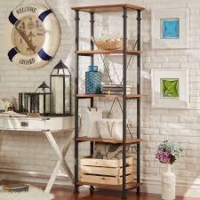Ebay Bookcase by Dark Brown 4 Shelf Rustic Wood Metal Bookcase Home Display Living