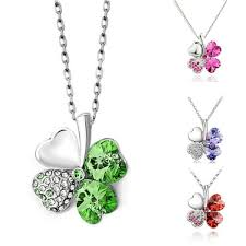 swarovski siege 10 swarovski elements clover necklace free shipping http