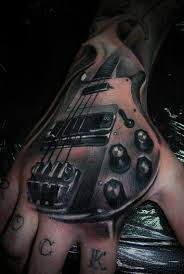 tattoo 3d guitar attractive 3d guitar tattoo on right hand