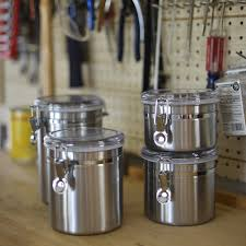 amazon com anchor hocking round stainless steel airtight canister amazon com anchor hocking round stainless steel airtight canister set with clear acrylic lid and locking clamp 4 piece set kitchen dining